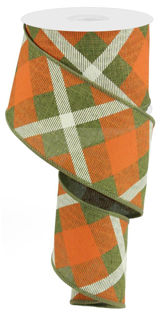 2.5in x 10yd - Fern Orange Cream-Printed Plaid on Royal Ribbon