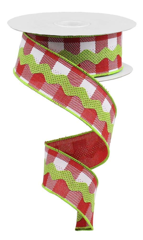 1.5in x 10yd - Red/White/Fresh Green  RicRac on Plaid Ribbon