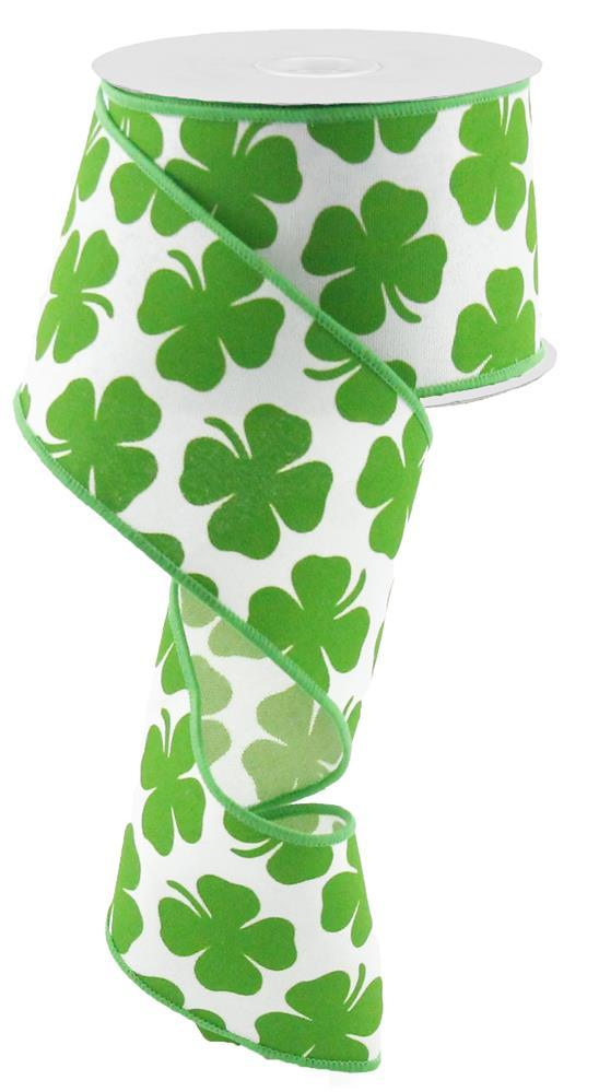 2.5in x 10yd - St. Patrick's Day Shamrock on Royal Ribbon