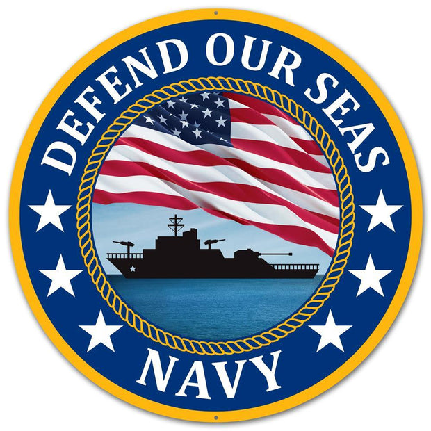 "12"" Dia Metal Defend Our Seas Navy"