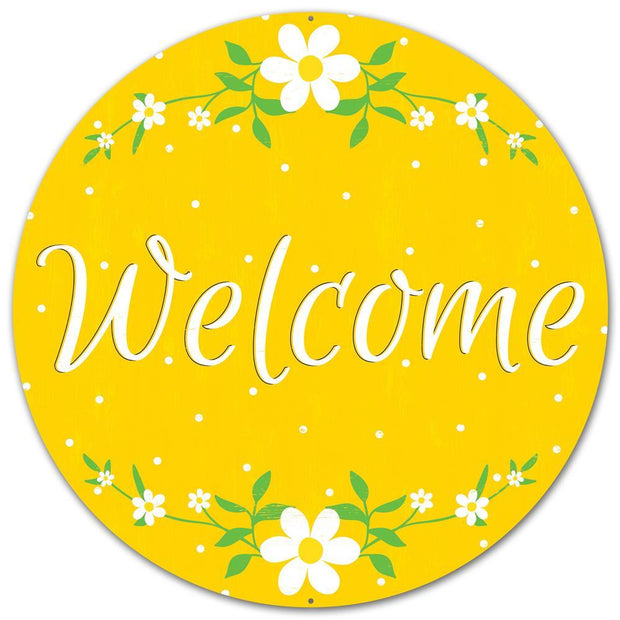"12""-Yellow-Welcome Daisy Sign"