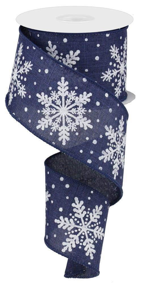 "2.5""x10yd Glittered Snowflakes - Navy/White/Silver"