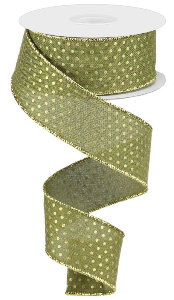 1.5in x 10yd Royal Swiss Dots Ribbon - Moss/Gold