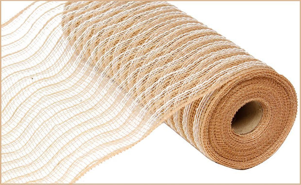 10.5in x 10yd - Natural white Poly Jute Cotton Mesh