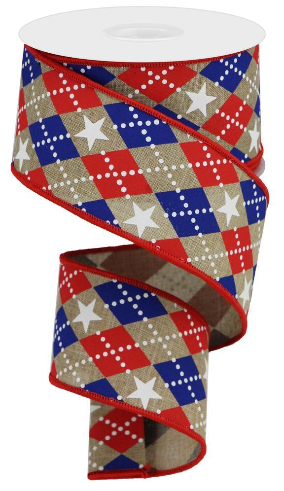 "2.5""x10yd Argle Stars on Royal - Beige/Red/Blue"
