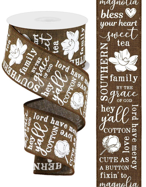 2.5in x 10yd - Brown White Southern Charm On Royal Ribbon