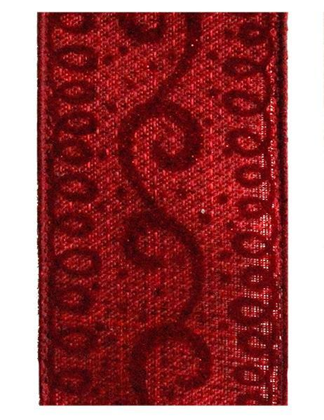 2.5in x 10yd - Burgundy-Glitter Scroll Ribbon