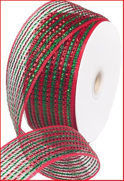 2.5in. x 25yd Red Emerald Wide Laser Foil Mesh