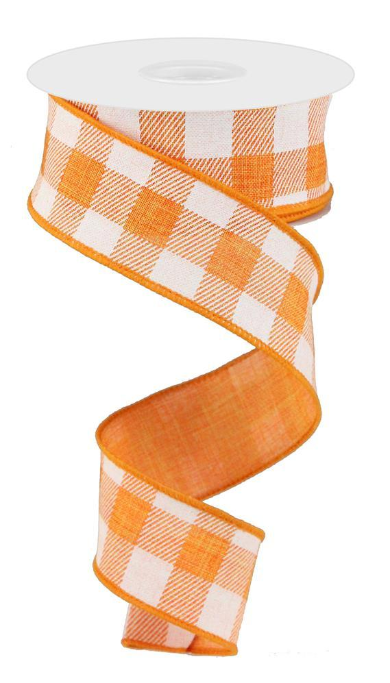 1.5in. x 10yd Orange White Striped Check On Royal