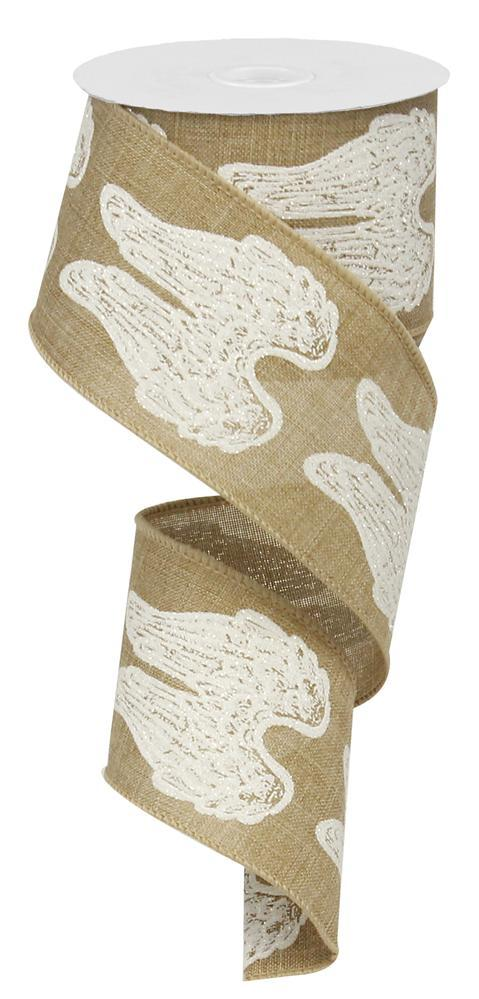"2.5""x10yd Angel Wings - Beige/White/Silver"