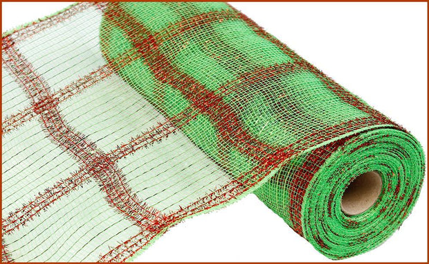 "10.5""X10yd Wide Tinsel/Pp/Foil Check - Lime/Red"