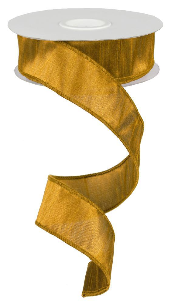 1.5in x 10yd - Gold Faux Dupioni Ribbon