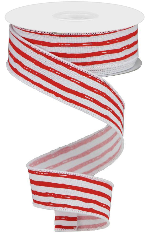 "1.5""x10yd Irregular Stripes on Royal - Red/White"