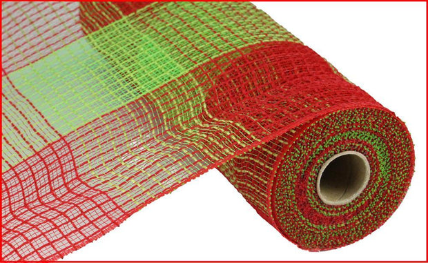 "10""x10yd Poly Jute Deco Mesh - Red/Lime"