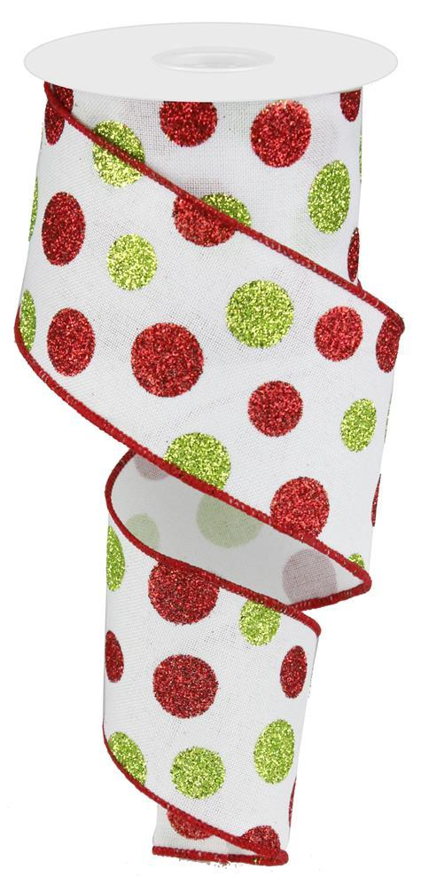 2.5in x 10yd - White Red Green-Multi Size Glitter Dots/Royal Ribbon