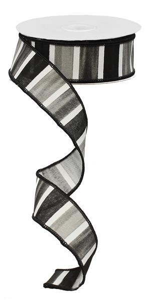 1.5in x 10yd - Black-Grey-White Watercolor Wide Stripe Ribbon