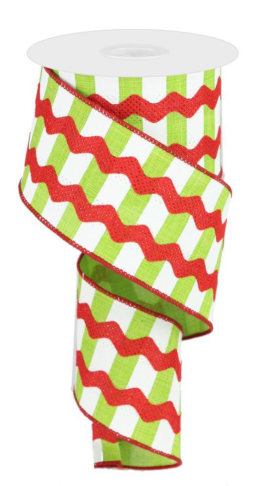 2.5in x 10yd - Lime White Red Fancy RicRac on Stripes Ribbon