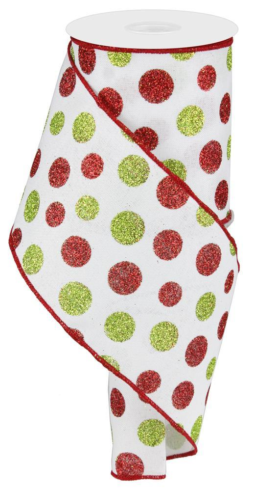 "4""x10yd Multi Size Glitter Dots - Red/White/Green"