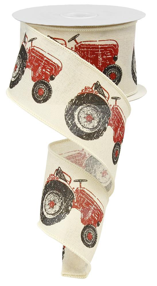 "2.5""x10yd Tractor on Royal Burlap - Cream/Red/Black"