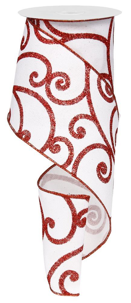 "4""x10yd Bold Scroll on Royal - White/Red"
