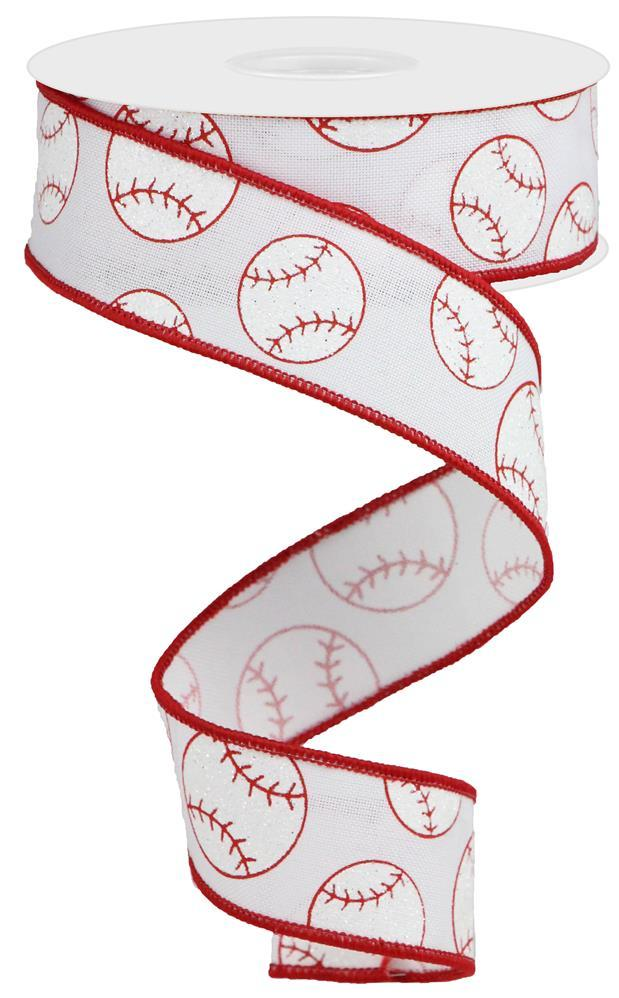 "1.5""x10yd Baseball on Royal - White/Red"