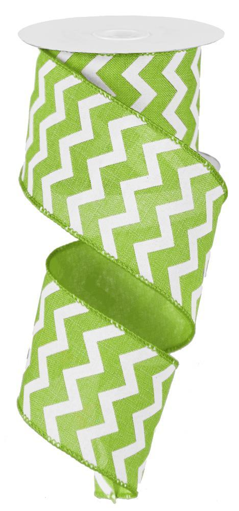 "2.5x""10yd Small Chevron on Royal - Lime/White"