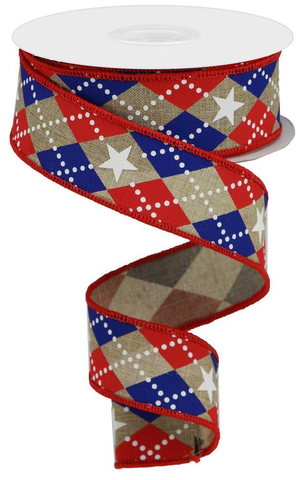 "1.5""x10yd Argle Stars on Royal - Beige/Red/Blue"
