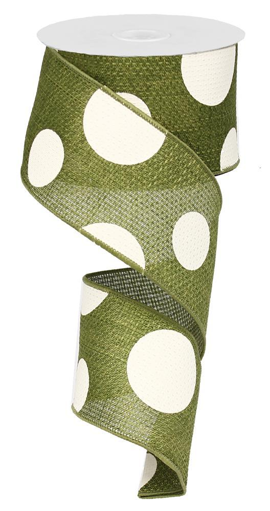 2.5in x 10yd - Moss Giant Multi Dots Ribbon