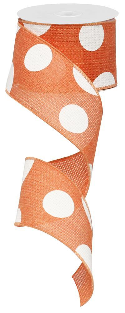 2.5in x 10yd - Salmon White Giant Multi Dots Ribbon