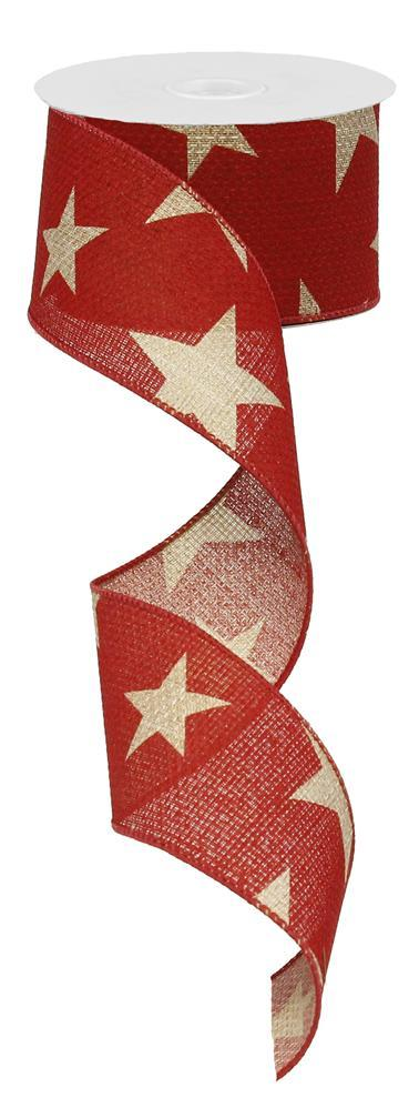 2.5in x 10yd - Large Stars on Cross Royal - Red/Beige