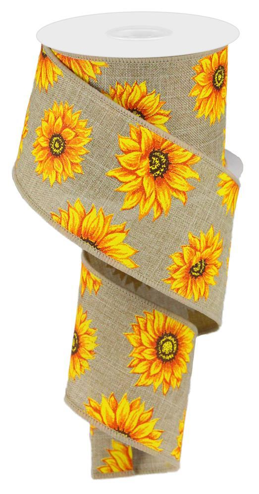 "2.5""x10yd Multi Sunflowers - Beige/Yellow/Orange"