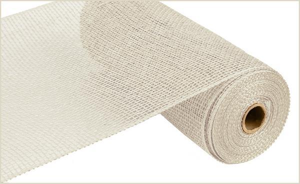 10in x 10yd - Cream Poly Burlap Mesh