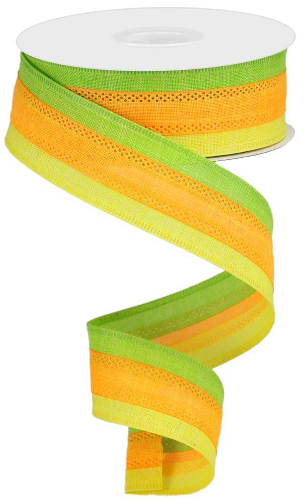 1.5in x 10yd - Yellow Orange Lime Striped Royal Burlap Ribbon