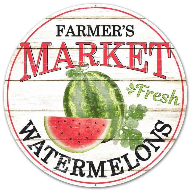 "12""-Black Red-Farmers Market Watermelon Sign"