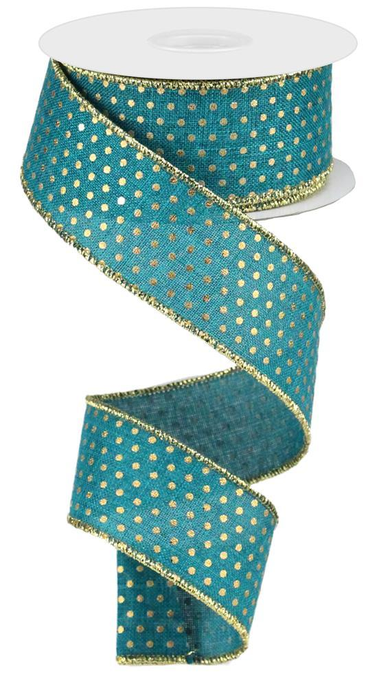 1.5in x 10yd Royal Swiss Dots Ribbon - Teal/Gold