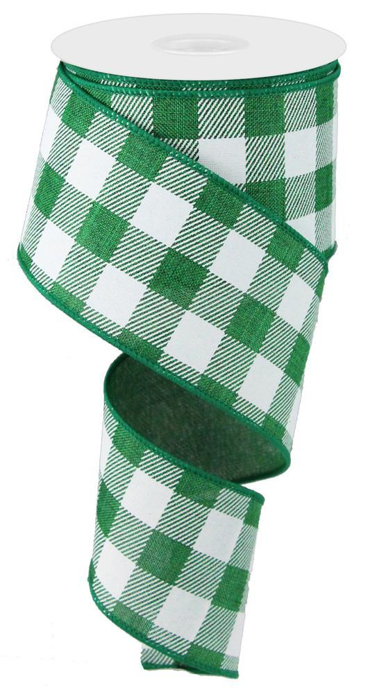 2.5in x 10yd - Emerald White Plaid Check on Royal Ribbon