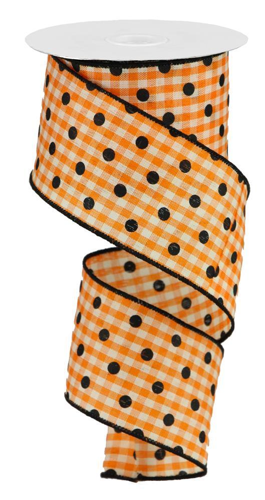 2.5in x 10yd - Orange Black Polka Dot Gingham Ribbon