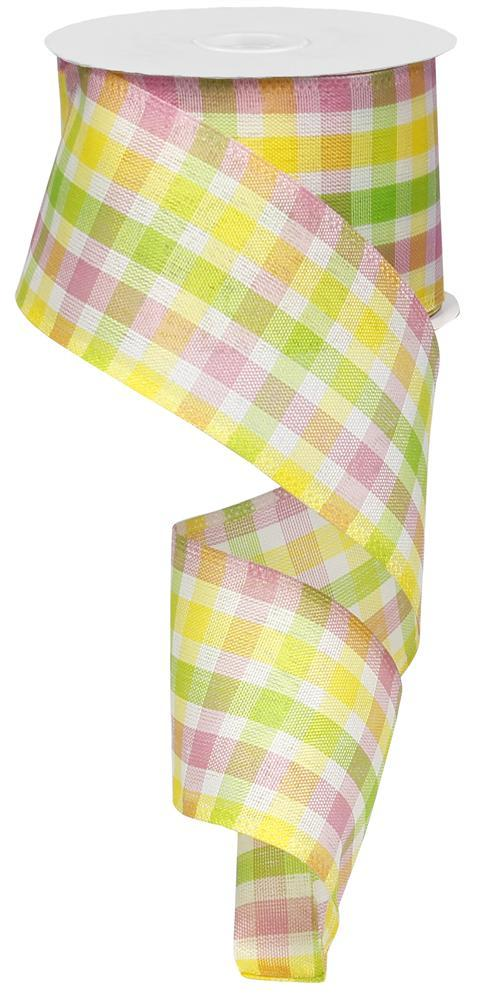 2.5in X 10yd Pink White Lime Yellow Spring Check