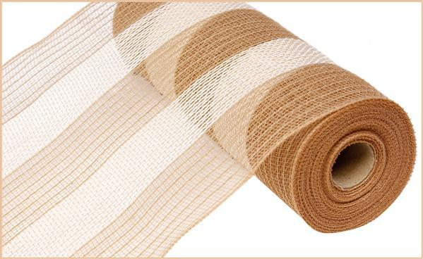 10in x 10yd - Natural Cream Poly Faux Jute Stripe Mesh