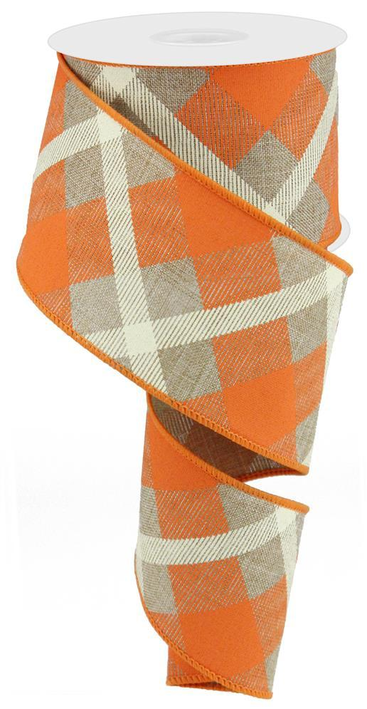 2.5in. x 10yd Beige Orange Cream Printed Plaid On Royal