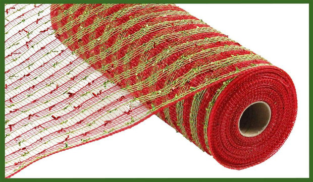"Copy of 10.5""x10yd Folded Laser Foil Mesh - Red/Lime"