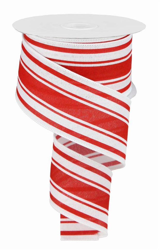 2.5in x 10yd - White Red Farmhouse Stripe on Cotton Ribbon