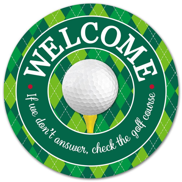"12""Dia Metal Welcome Golf Sign"