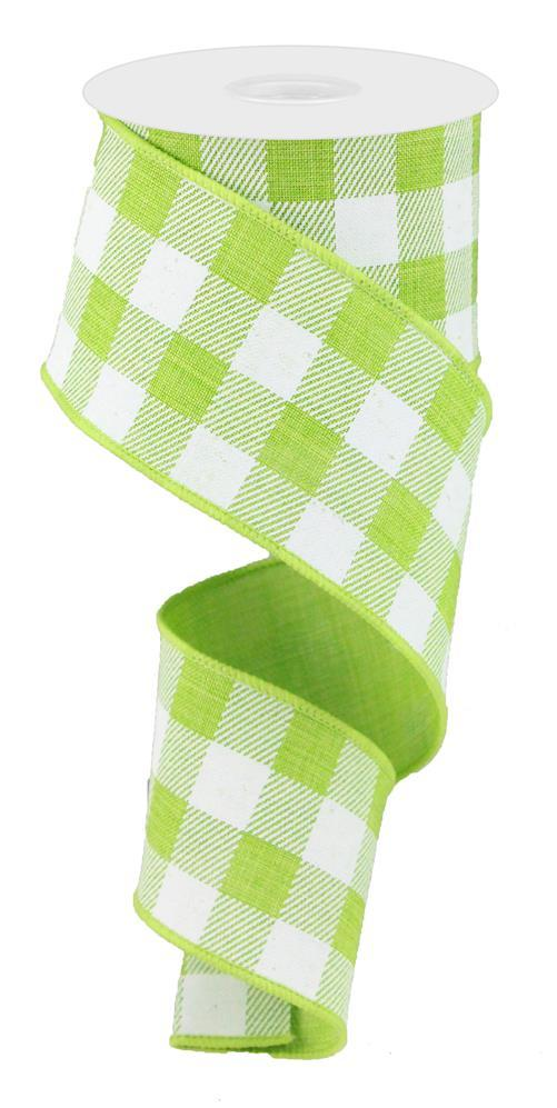 2.5in x 10yd - Lime White Plaid Check on Royal Ribbon
