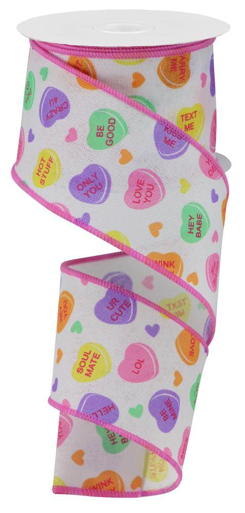 "2.5""X10yd Conversation Hearts On Royal"