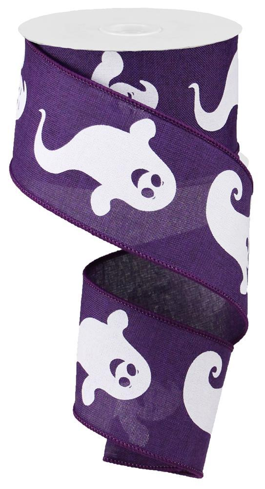 2.5in x 10yd - Purple White Ghost on Royal Ribbon