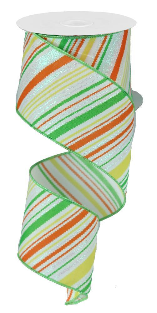 2.5in x 10yd - White Lime Yellow Orange Diagonal Lines W/Glitter Ribbon