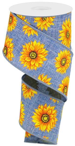 2.5in x 10yd - Denim Yellow Orange-Sunflower Ribbon
