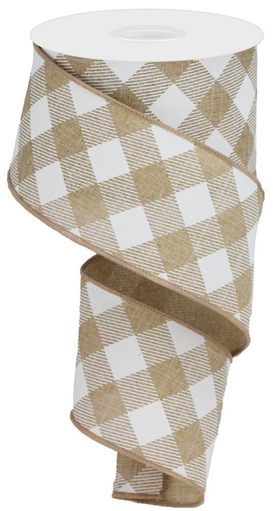 "2.5""x10yd Diagonal Check on Royal - Lt. Tan/White"