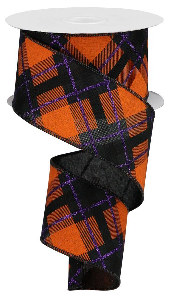 "2.5""x10yd Glitter Plaid on Royal - Black/Purple/Orange"